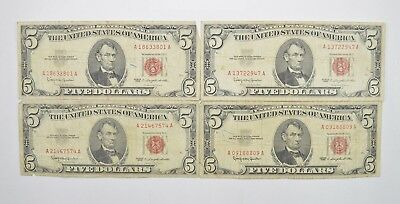 Lot of (4) $5.00 Red Seal Old US Notes Currency Collection 1963 *358