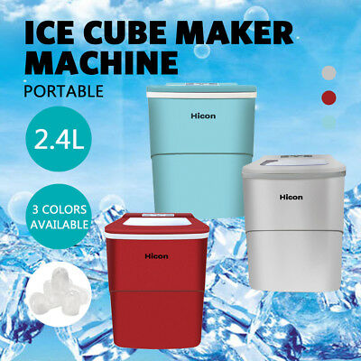 2.4L Ice Cube Maker Portable Machine Counter Top Benchtop Stainless Steel 15KG