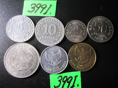 7 x assorted coins  Indonesia  Mar3991/1   35  gms
