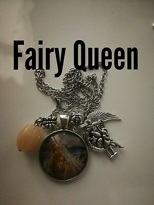 Code 345 Fairy Queen Agate Infused Necklace Fairyologist Doreen Virtue Wand moon