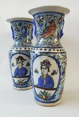 Beautiful Large Pair Of Antique Persian Qajar Islamic Hand Painted Pottery Vases
