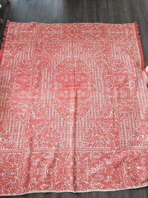 Antique Jacquard Coverlet Dated 1889 Red and White, American