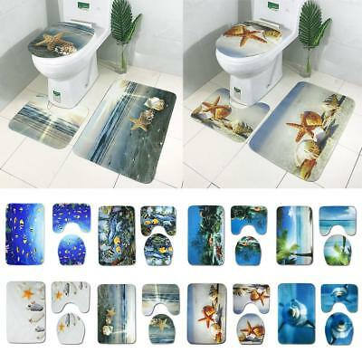 3Pcs Non-Slip Bathroom Pedestal Lid Mat Toilet Shower Rug Carpet Set Home Decor