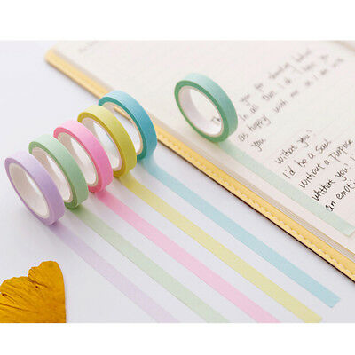 12x rainbow washi sticky paper colorful masking adhesive tape scrapbooking diy.~