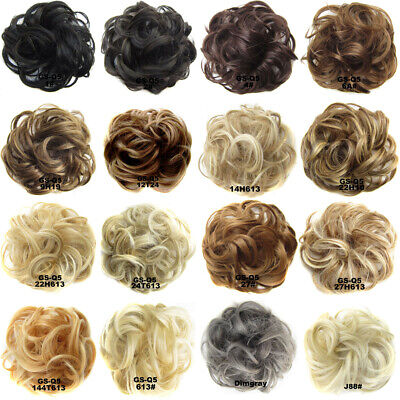 100% Natural Curly Messy Bun Hair Piece Scrunchie Real Thick Hair Extensions Hot