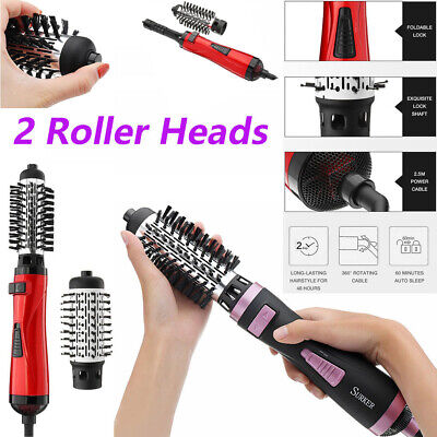 220-240V 2In1 Hair Brush Electric Curling Rod Rotating Wand Dryer Roller Durable