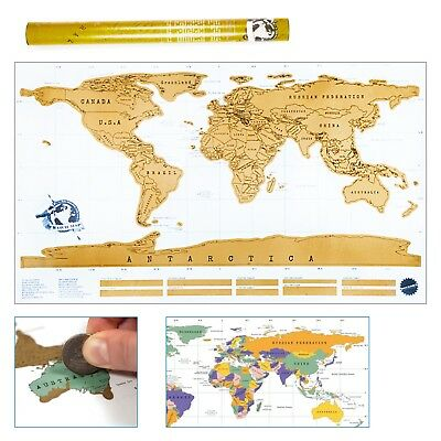 Travellers Large 88x52 cm Scratch Off World Map Travel Holiday Poster Wall Paper