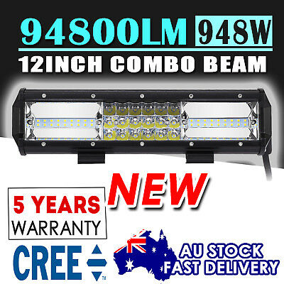 12inch NEW Car LED Light Bar Work SPOT FLOOD Combo Offroad Driving 12V Tri Rows
