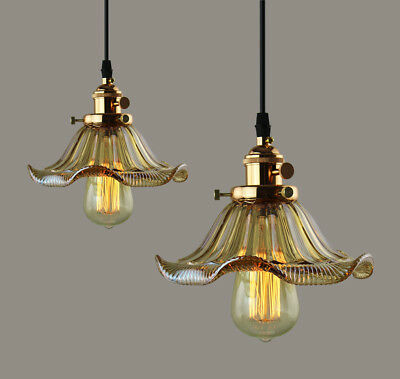 Industrial Retro Vintage Amber Glass Copper Fixture French Style Pendant Light
