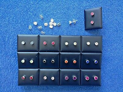 JOBLOT-12 pairs of 0.5cm  crown set colour  diamante stud earrings.Silver plated
