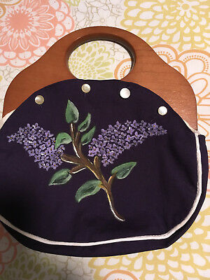 Vintage Bermuda Bag wooden handle purse with hand painted Lupine cover