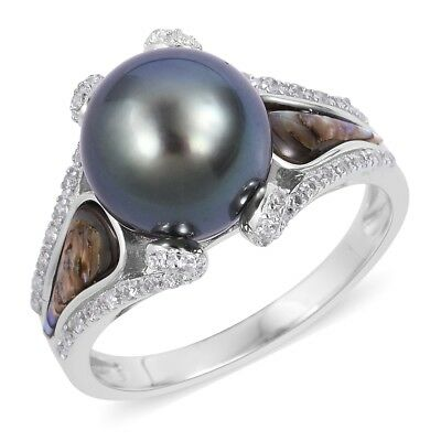 New Silver 0.3 Cttw Tahitian Pearl, Abalone Shell, White Zircon Girl Ring