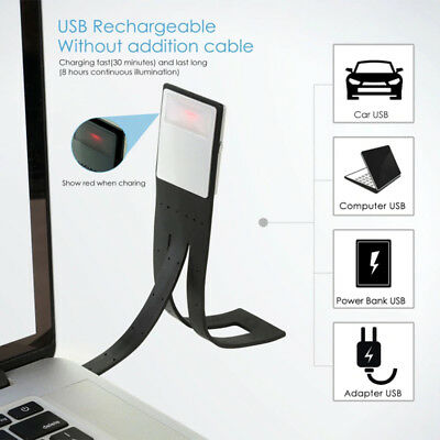 Magnetic USB Rechargeable LED Book Light Flexible Clip On Night Reading Lamp KL2