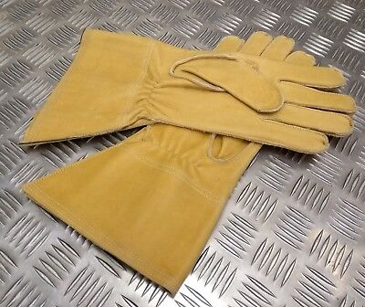 Genuine British Military Issue Heavy Duty MT Leather Gauntlet Lined - Un-issued