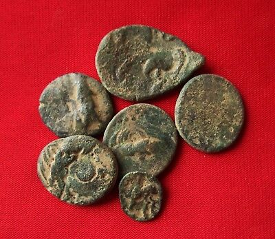 Ancient CELTIC TetraDrachm coins - UNCLEANED , bronze . Lot with 6 . No1