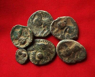 Ancient CELTIC TetraDrachm coins - UNCLEANED , bronze . Lot with 6 . No2