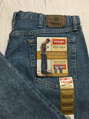 Weangler Five Star Jeans Mens 40x30 Relaxed Fit Straight Leg Blue Denim NWT