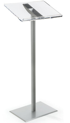 Silver Aluminum Lectern Stand Conference Room Presentation Floor Acrylic Podium