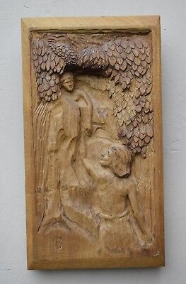 "Vintage ""Orpheus Looks Back"" Hand Carved Wooden Wall Hanging Plaque TEAK  Rare"