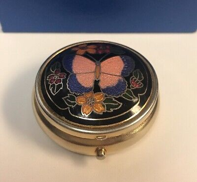 VTG CHINESE CLOISONNE Enameled Floral/Butterfly Trinket Box~PILL BOX~3 Sections!