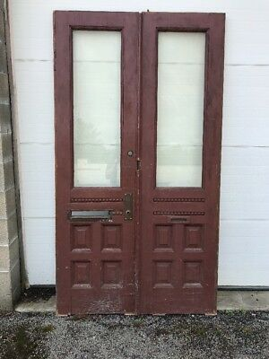 MAR 227 match Pair antique Double Doors oak beveled glass 4' x 87