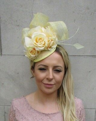 Lemon Light Pale Yellow Rose Flower Feather Hat Fascinator Hair Races Vtg 6103