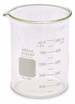 Corning Pyrex® #1000 Griffin Low Form, Glass Beaker, 600ml -  (3 pack)