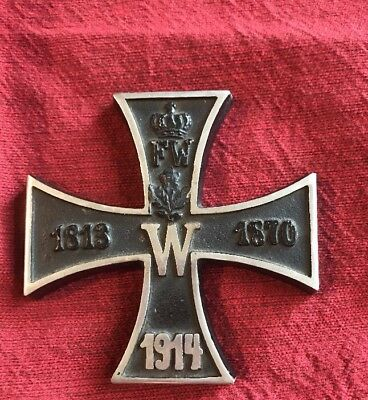 Original 1914 WW1 Imperial German Cast Iron Cross Crown Ges Gesch Paperweight
