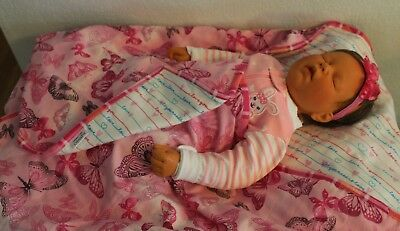 Handmade Reversible Double Flannel Baby Girl Machine Quilted Blanket/Quilt