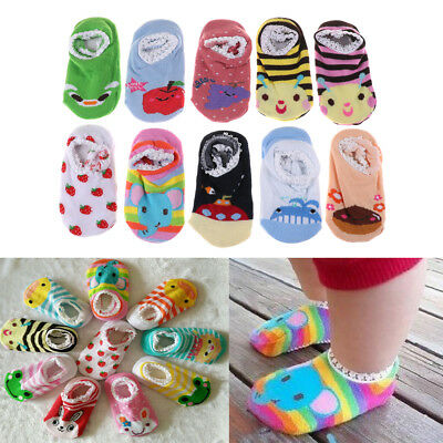Cute Baby Cotton Cartoon Socks Newborn Infant Toddler Kids Soft Anti-slip SocksT