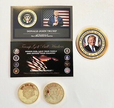 Trump Golf Ball Marker...2016 Presidential Tribute.. 24K Gold Plated Coin
