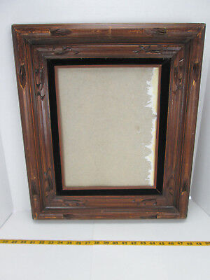 Vintage Picture Wood Frame Black Velvet Hecho On Mexico 19 14 X 22