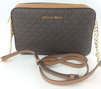 09306b20f6fe New Authentic Michael Kors Jet Set Item Large EW PVC Crossbody Bag  Brown/Acorn