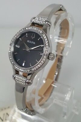 Bulova 96L259 Women's 27 mm Crystal Accent S/Steel Black MOP Dial Watch **NWT**