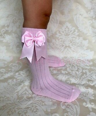 Spanish Romany Baby Girls RIBBED Double Bow Knee High Socks, school uniform