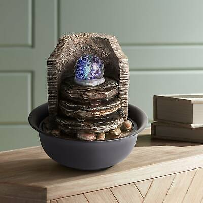 Indoor Water Fountain With Led Light 10 1 4 Rock Stack Ball For Table