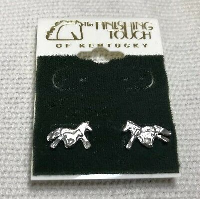 The Finishing Touch Of Kentucky:  Tiny Running Mare And Foal Pierced Earrings