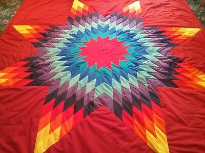 Beautiful Authentic Native American Lakota Star Quilt Red Free