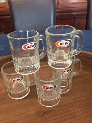 Vintage  Lot of 5  A&W Root Beer Mugs Mini Childs Kids Size Set of 5 A & W mugs
