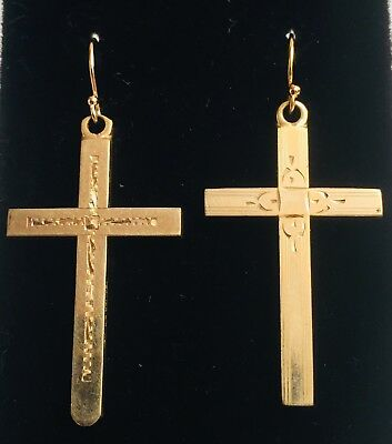 Antique Gold Brass Cross Necklace and pair of Earrings SKU #UVFP2P399