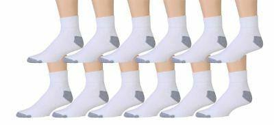 New Lot 3-12 Pairs Ankle Quarter Crew Mens Sport Socks White Cotton Size 10-13