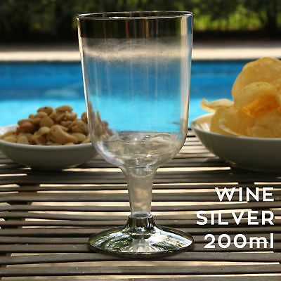 SILVER RIM WINE GLASSES PLASTIC Clear Disposable Cup Flutes Glass  - 200ml