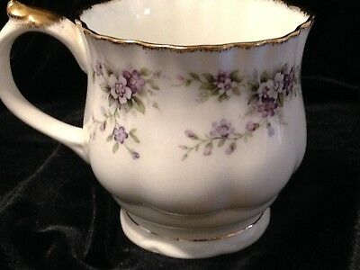Elizabethan, Staffordshire Fine Bone China White With Purple Flowers Tea Cup