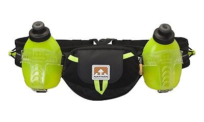 Nathan Sports Unisex Trail Mix Plus Hydration Belt, Black/Safety Yellow, 20 Oz/6