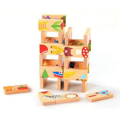 28pcs/Set Wooden Zoo Animals Jigsaw Puzzle Children's Learning Educational Toy