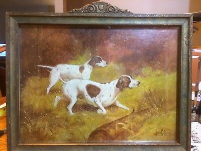 Vintage English Pointer Oil Painting
