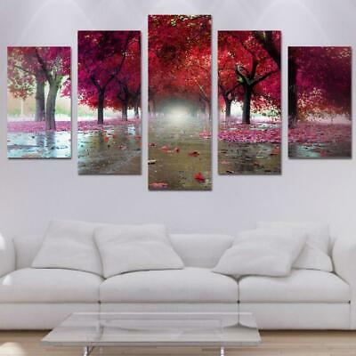 Canvas Paintings 5 Pieces Red Pink Trees Landscape Pictures Canvas Wall Art H...