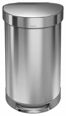 Simplehuman 45 Litre Stainless Steel Semi Round Pedal Bin - Silver