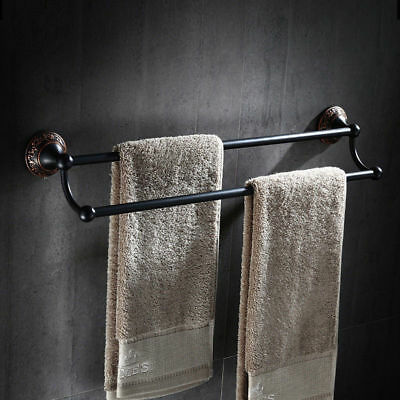 "24"" Towel Rack Antique Black Wall Mounted Bath Double Towel Bar Solid Brass ORB"