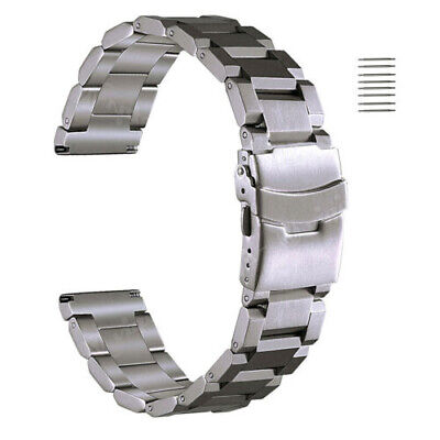 18 20 22 24mm Stainless Steel Metal Bracelet Band Double Locking Clasp Strap